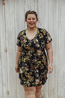 Vestido Decote V Malha Floral Tropical Dark