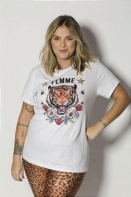 Camiseta Feminina Femme Tigre Branca