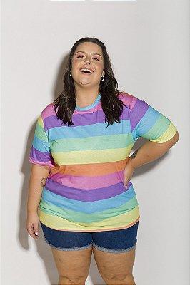 Camiseta Boyfriend Listrada Candy Colors