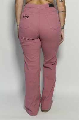 Calça Flare Veludo Cotelê Rosa Para Altas