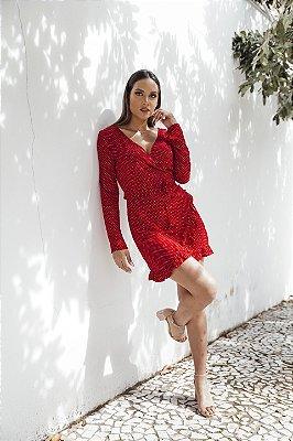 Vestido Transpassado Poá Vermelho Malu