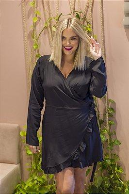 Vestido Transpassado Preto Liso Malu
