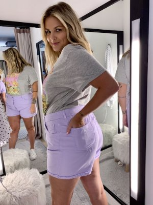 Shorts Mom Jeans Vintage Lavanda