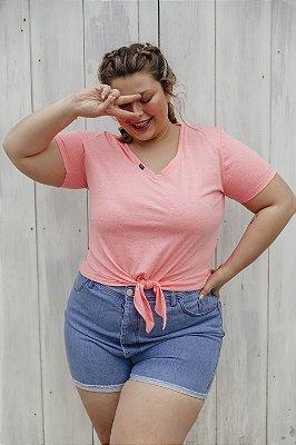 Blusa Decote V Malha Neon Rosa