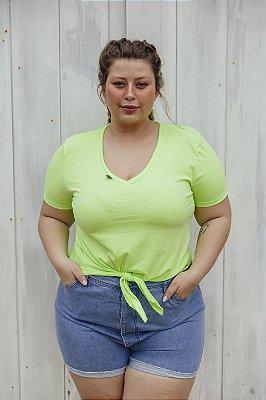 Blusa Decote V Malha Neon Verde
