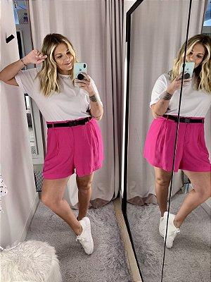Shorts Alfaiataria Viscolinho Pink