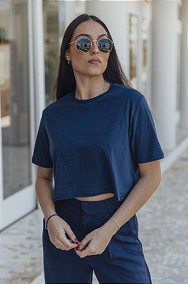 Camiseta Cropped Básica Marinho