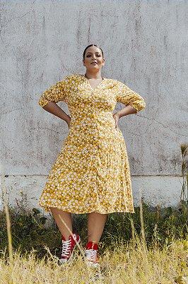 Vestido Floral Amarelo Marina Midi