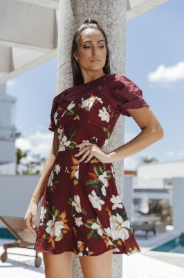 Vestido Tiane Floral Marsala