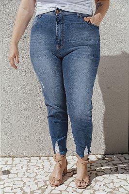Skinny Jeans com Elastano Barra Desfiada Sarah