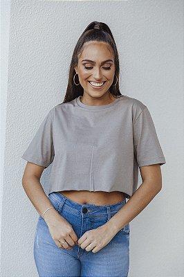 Camiseta Cropped Básica Cinza