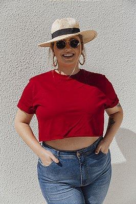 Camiseta Cropped Básica Vermelha