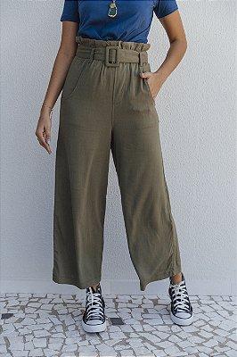 Pantalona Viscolinho Com Cinto Verde Militar