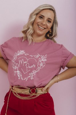 Camiseta Feminina Mom Power Vintage Rosa