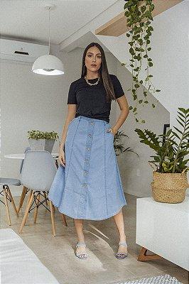 Saia Midi Jeans com Botões Fabiane