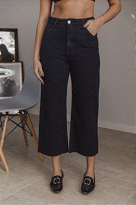 Calça Jeans Cropped Flare Bárbara Preta
