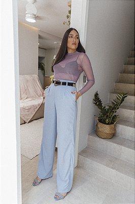 Pantalona Longa Viscolinho Azul