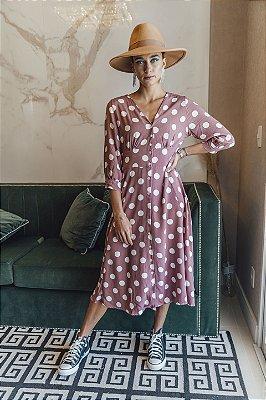 Vestido Poá Rosa Antigo Juliana Midi