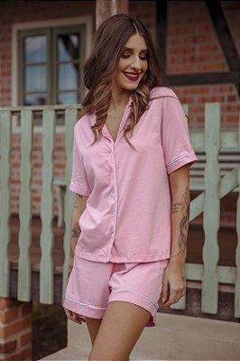 Pijama Manga Curta Rosa