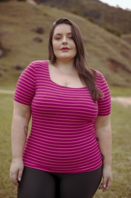 Blusa Decote Quadrado Viscose Rosa