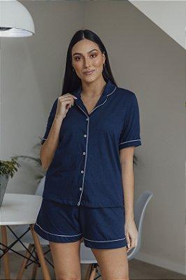 Pijama Manga Curta Marinho