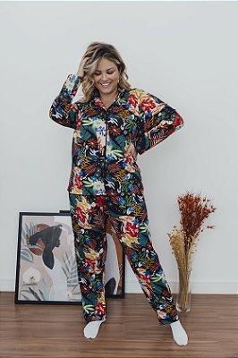 Pijama Manga Longa Floral Preto