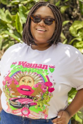 Camiseta Feminina Woman Power Branca