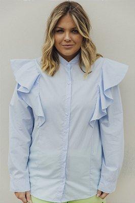 Camisa Alfaiataria com Babados Azul