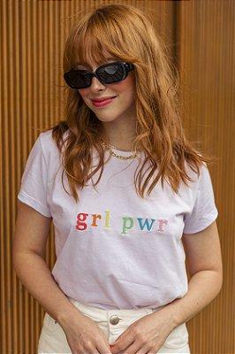 Camiseta GRL PWR Branca Bordada