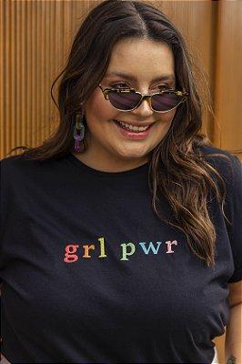 Camiseta GRL PWR Preta Bordada