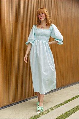 Vestido Jess Xadrez Turquesa