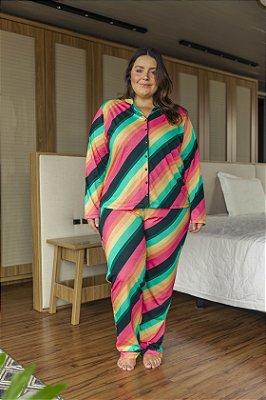 Pijama Manga Longa Listrado
