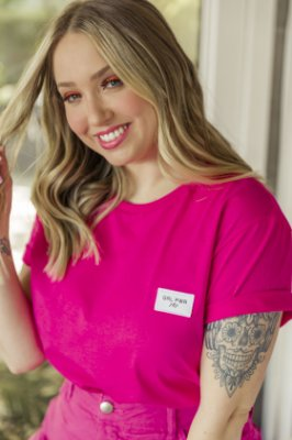 Camiseta Feminina Básica Rosa