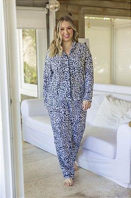 Pijama Manga Longa Onça Branco