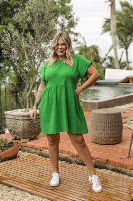 Vestido Malha Babados CURTO Verde