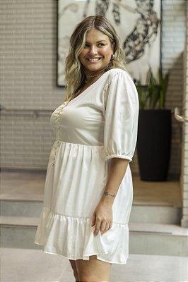 Vestido Cetim Manoela Branco Curto