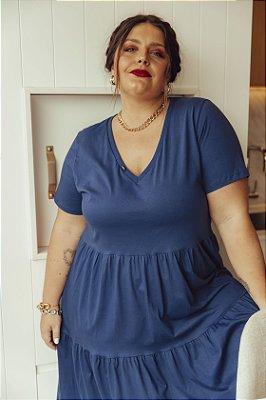 Vestido Malha Camadas Azul