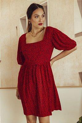 Vestido Decote Quadrado Poá Vermelho