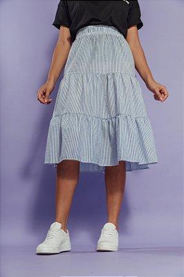 Saia Midi Camadas Listrada Azul