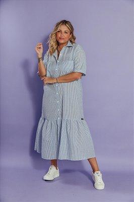 Vestido Camisaria Listrado Azul