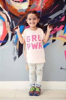 Camiseta Infantil GRL PWR Rosa