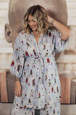 Kimono Mulheres Azul GRL PWR
