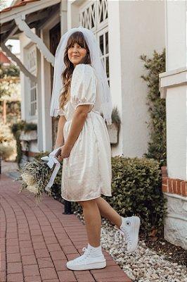Vestido Decote Quadrado Cetim Branco