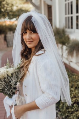 Véu Tule Liso Branco Curto - Noivas
