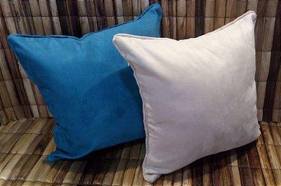 Conjunto de Almofadas em Suede Azul e Bege