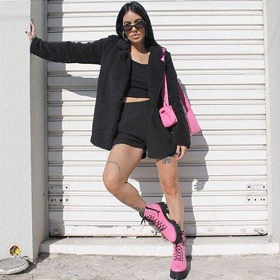 Combo Bolsa Baguete Pink + Coturno Zulema