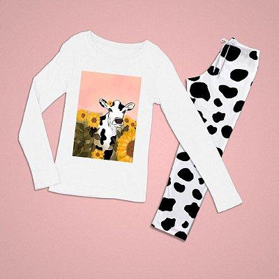 Conjuntinho Pijama Longo Vaca Girassol