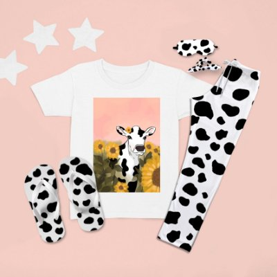 Combo Pijama longo + camiseta curta vaca coroa
