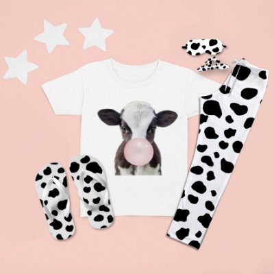 Combo Pijama longo + Camiseta curta Vaca Babalu