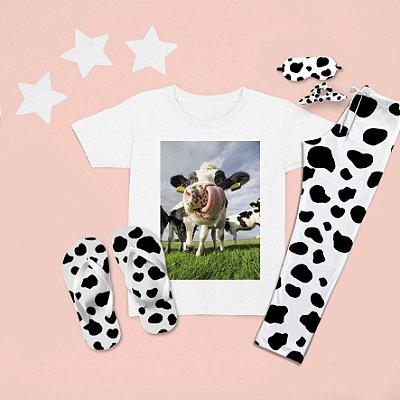 Combo Pijama longo + Camiseta Curta Vaca Língua